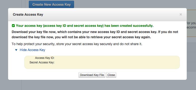 アクセスキーとシークレットキーの表示