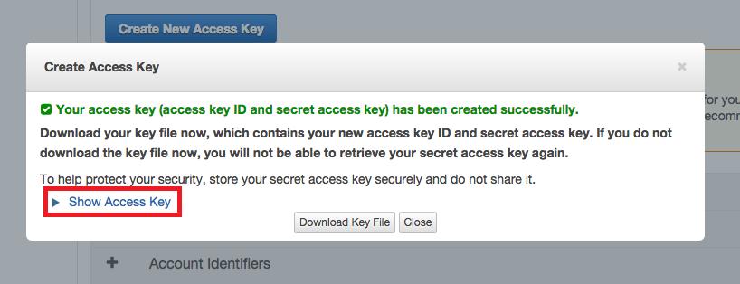 アクセスキーの発行完了