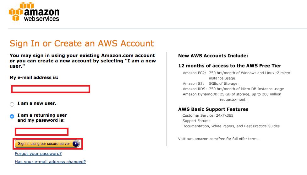 Amazon Web Serviceログイン
