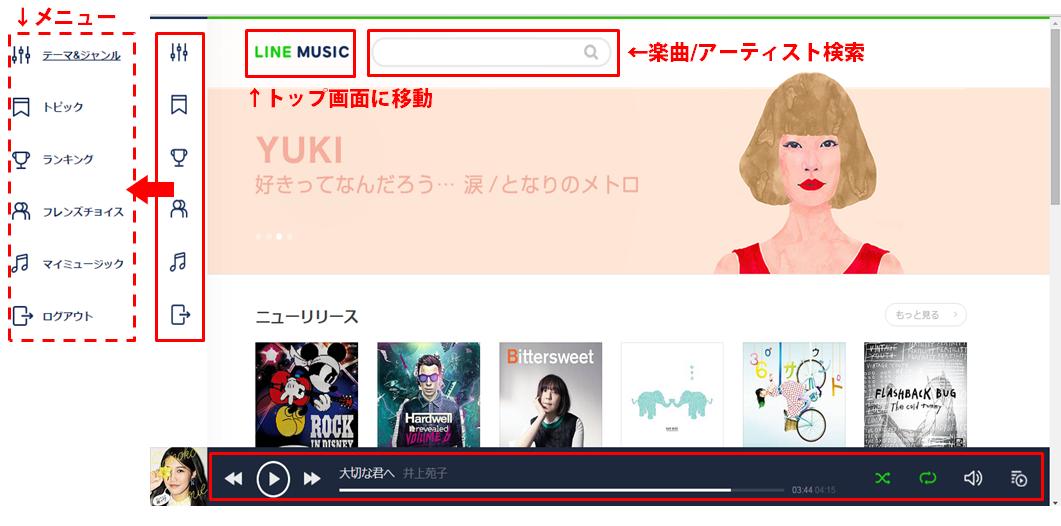 LINE MUSICブラウザ版トップ